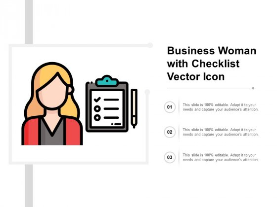 Business Woman With Checklist Vector Icon Ppt PowerPoint Presentation Professional Graphics Pictures