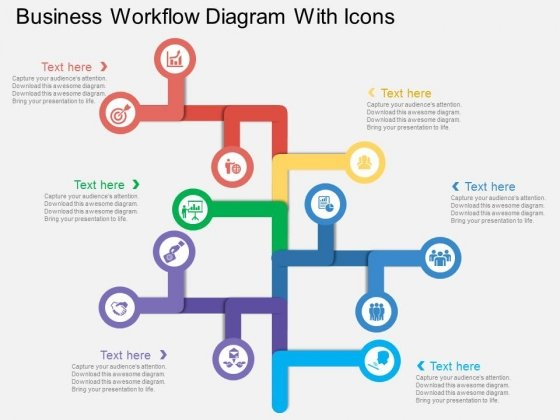 Business Workflow Diagram With Icons Powerpoint Template