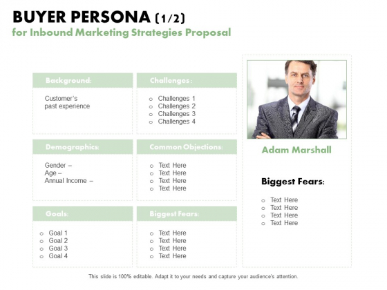 Buyer Persona 1 2 For Inbound Marketing Strategies Proposal Ppt PowerPoint Presentation Graphics