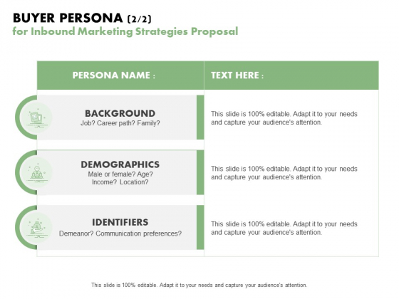 Buyer Persona 2 2 For Inbound Marketing Strategies Proposal Ppt PowerPoint Presentation Professional Guide