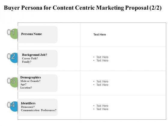 Buyer Persona For Content Centric Marketing Proposal Communication Ppt PowerPoint Presentation Ideas Samples