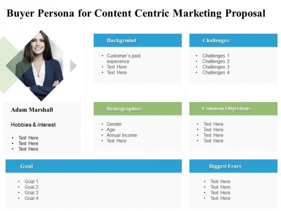 Buyer Persona For Content Centric Marketing Proposal Ppt PowerPoint Presentation Inspiration Graphics Pictures