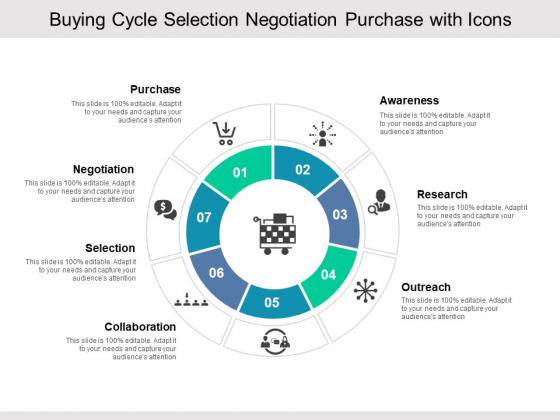 Buying Cycle Selection Negotiation Purchase With Icons Ppt PowerPoint Presentation Slides Introduction