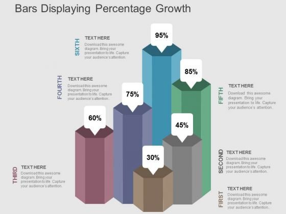 Bars Displaying Percentage Growth PowerPoint Templates