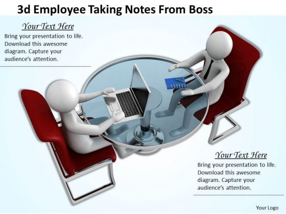Basic Marketing Concepts 3d Employee Taking Notes From Boss Business