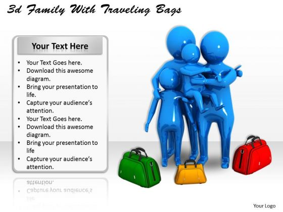 Basic Marketing Concepts 3d Family With Traveling Bags Business