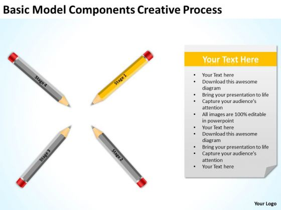 Basic Model Components Creative Process Business Plan PowerPoint Templates