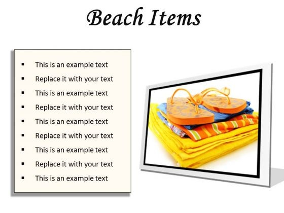 Beach Items01 Holidays PowerPoint Presentation Slides F