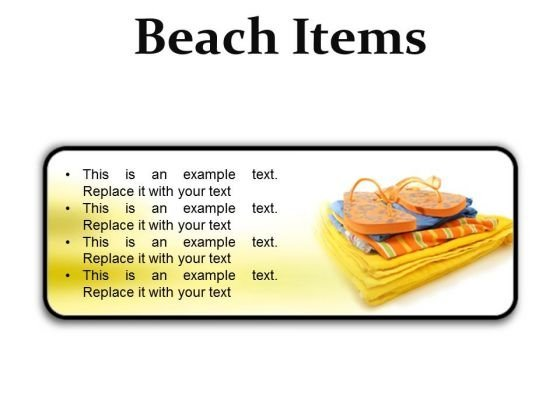 Beach Items01 Holidays PowerPoint Presentation Slides R
