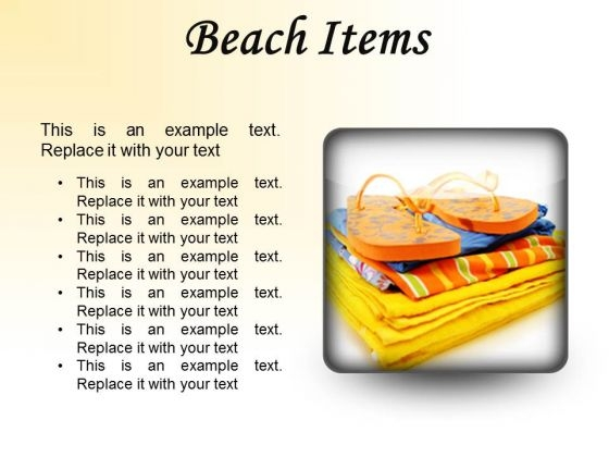 Beach Items01 Holidays PowerPoint Presentation Slides S