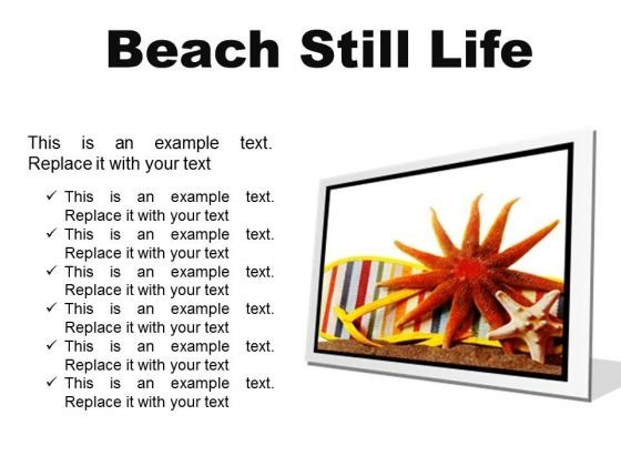 Beach Still Lifestyle PowerPoint Presentation Slides F