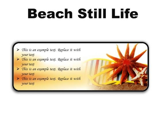 Beach Still Lifestyle PowerPoint Presentation Slides R