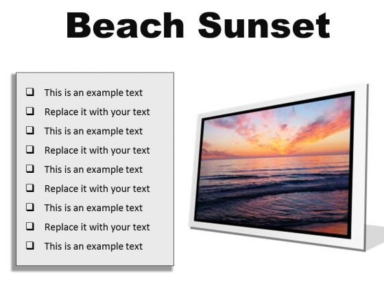 Beach Sunset PowerPoint Presentation Slides F