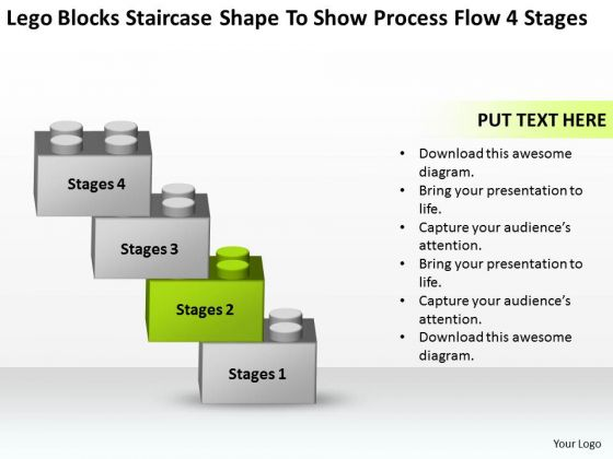 Blocks Staircase Shape To Show Process Flow 4 Stages Ppt Market Plan Example PowerPoint Slides