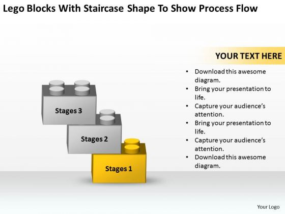 Blocks With Staircase Shape To Show Process Flow Ppt Business Plan Templet PowerPoint Templates