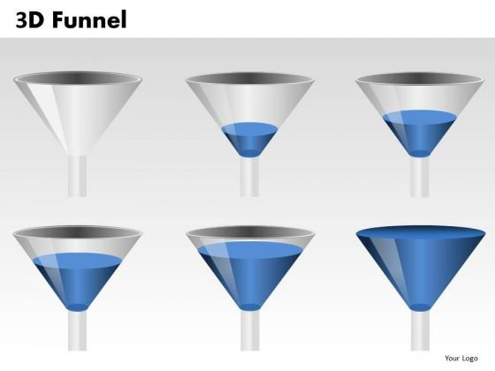 Blue 3d Funnels PowerPoint Slides