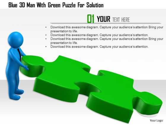 Blue 3d Man With Green Puzzle For Solution