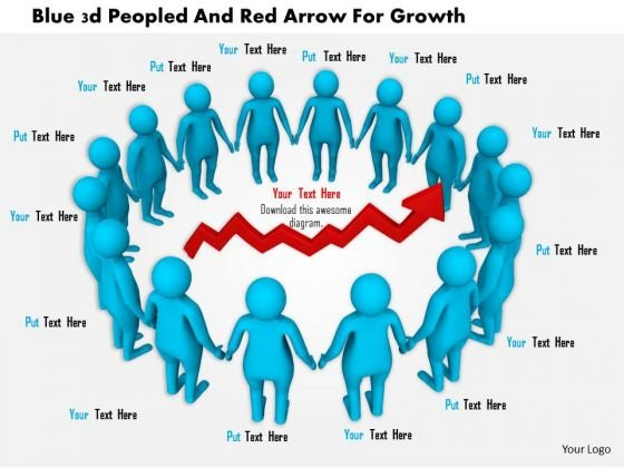 Blue 3d Peopled And Red Arrow For Growth