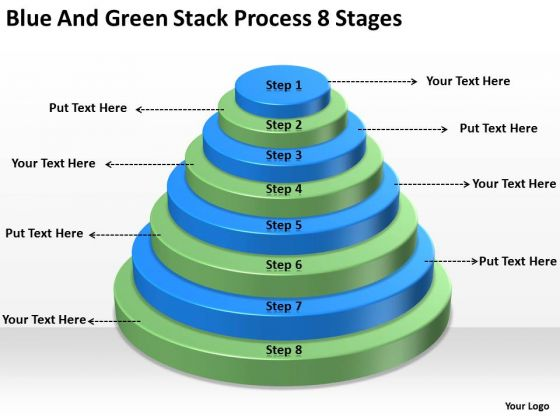 Blue And Green Stack Process 8 Stages Business Plan Strategy PowerPoint Slides