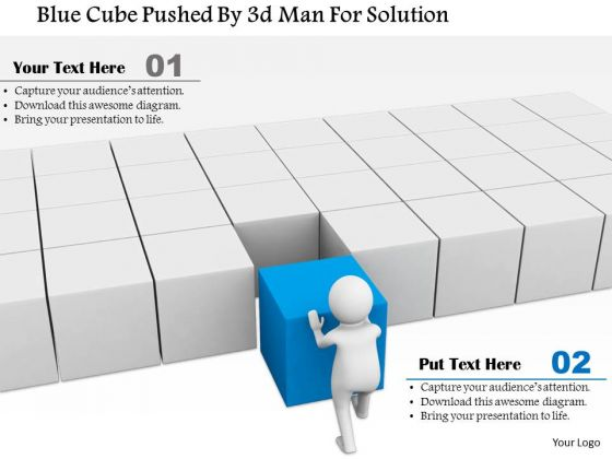 Blue Cube Pushed By 3d Man For Solution