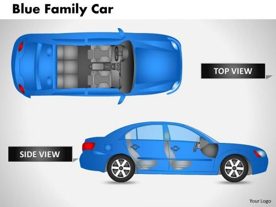 Blue Family Car Side View PowerPoint Slides And Ppt Diagram Templates