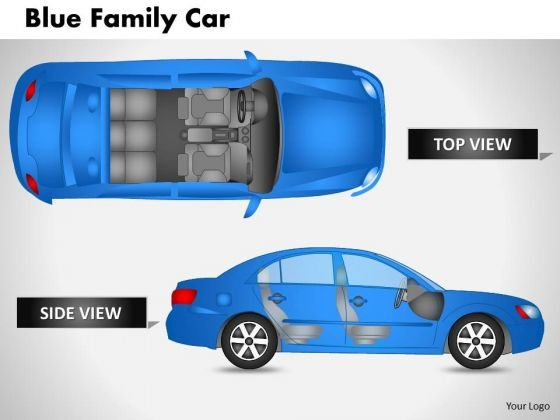 Blue Family Car Top View PowerPoint Slides And Ppt Diagram Templates