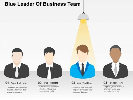 Blue Leader Of Business Team PowerPoint Templates