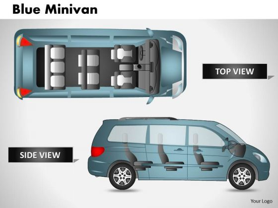 Blue Minivan Side View PowerPoint Slides And Ppt Diagram Templates