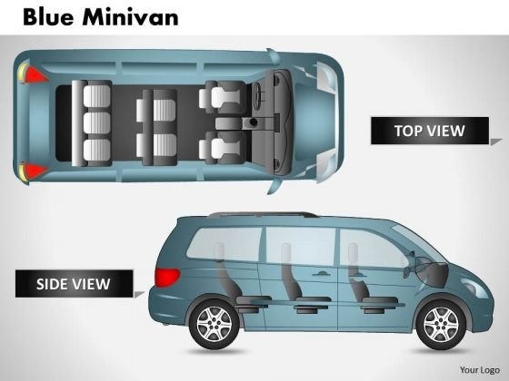 Blue Minivan Top View PowerPoint Slides And Ppt Diagram Templates