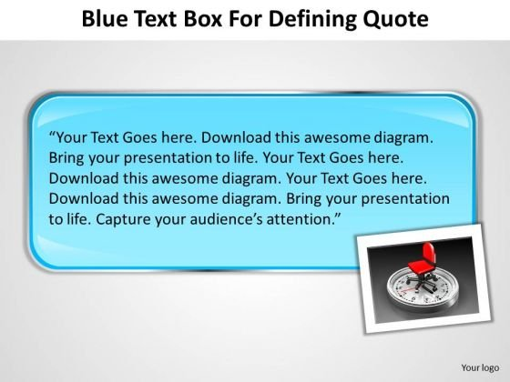 Blue Text Box For Defining Quote Radial Chart PowerPoint Templates
