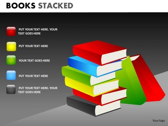 Books Piled Up PowerPoint Templates