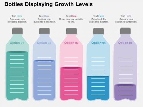 Bottles Displaying Growth Levels PowerPoint Template