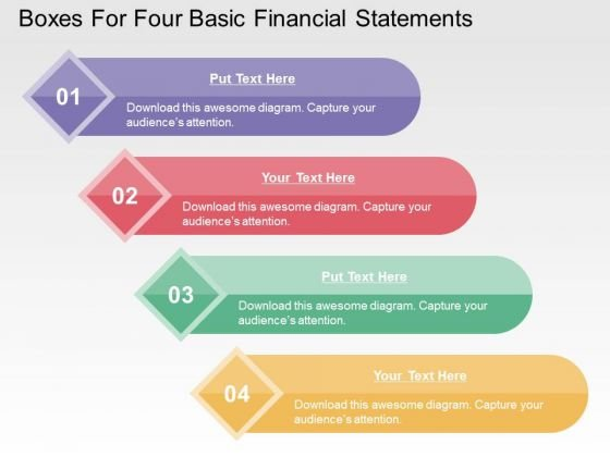 Boxes For Four Basic Financial Statements PowerPoint Templates