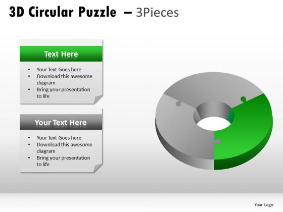 Bright 3d Circular Puzzle 3 Pieces PowerPoint Slides And Ppt Diagram Templates
