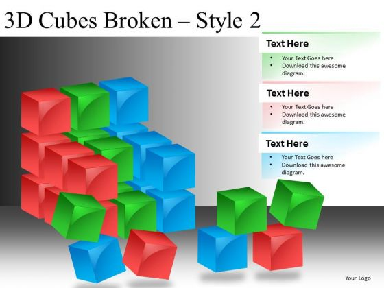 Broken Construction Blocks PowerPoint Slides
