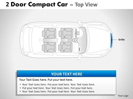 Bug Bumper 2 Door Blue Car Top PowerPoint Slides And Ppt Diagram Templates