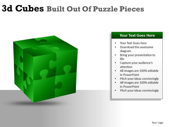 Building 3d Cube Puzzle Pieces PowerPoint Slides And Ppt Diagram Templates