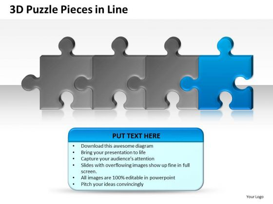 Building 3d Puzzle Pieces In Line PowerPoint Slides And Ppt Diagram Templates