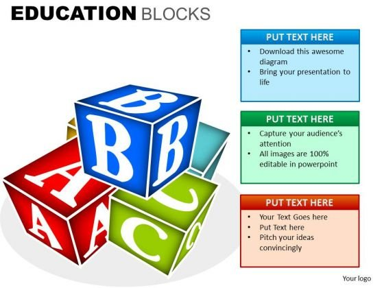 Building Blocks With Alphabets PowerPoint Clipart Slides