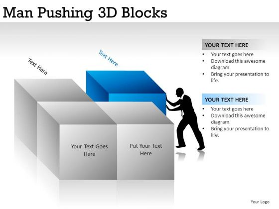 Building Man Pushing 3d Blocks PowerPoint Slides And Ppt Diagram Templates