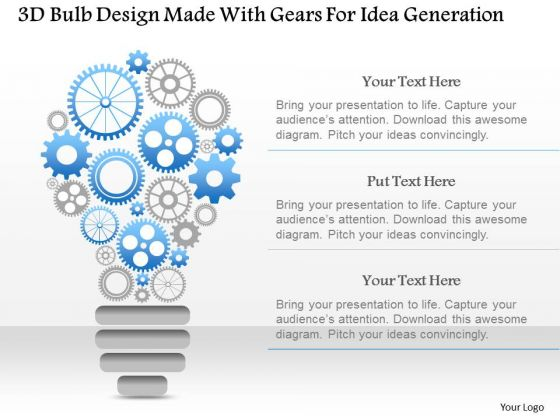 Busines Diagram 3d Bulb Design Made With Gears For Idea Generation ...