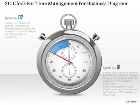 Busines Diagram 3d Clock For Time Management For Business Diagram Presentation Template