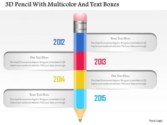 Busines Diagram 3d Pencil With Multicolor And Text Boxes Presentation Template
