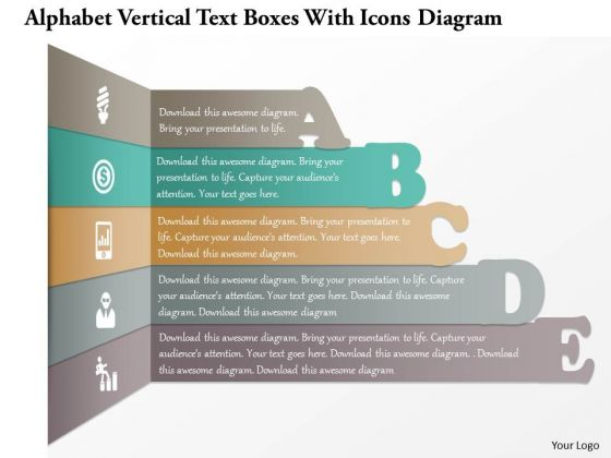 Busines Diagram Alphabet Vertical Text Boxes With Icons Diagram Presentation Template