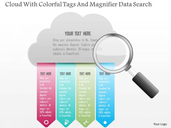 Busines Diagram Cloud With Colorful Tags And Magnifier Data Search Presentation Template