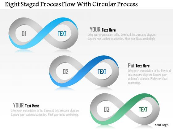 Busines Diagram Eight Staged Process Flow With Circular Process Presentation Template