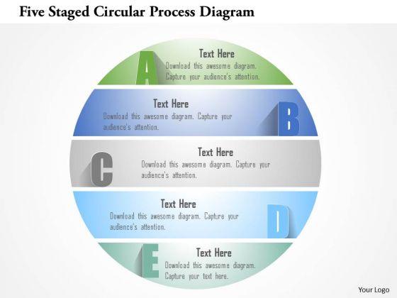 Busines Diagram Five Staged Circular Process Diagram Presentation Template