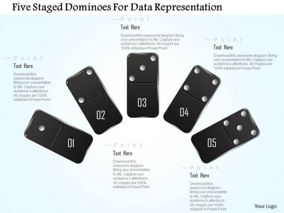 Busines Diagram Five Staged Dominoes For Data Representation Presentation Template