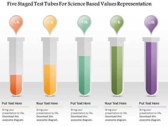 Busines Diagram Five Staged Test Tubes For Science Based Values Representation Ppt Template
