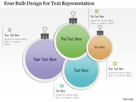 Busines Diagram Four Bulb Design For Text Representation Presentation Template